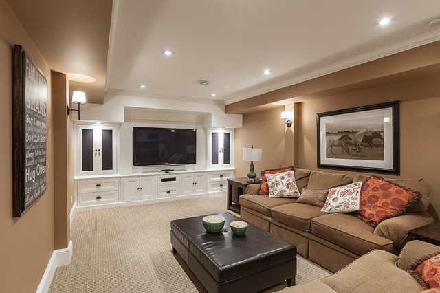 Inspiration For A Transitional Carpeted Family Room Remodel In Other With Beige Walls And Media