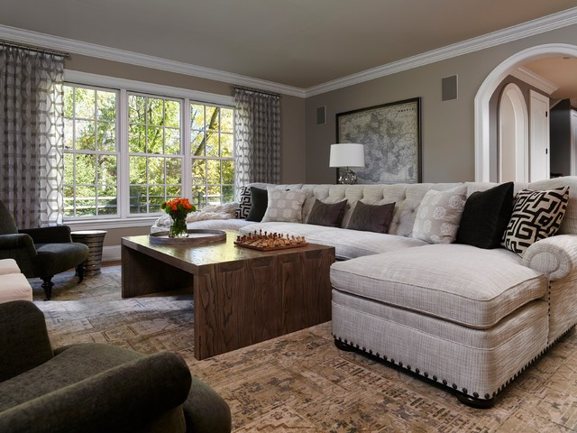 Napa chic transitional family room transitional family for Modern and traditional living room decor