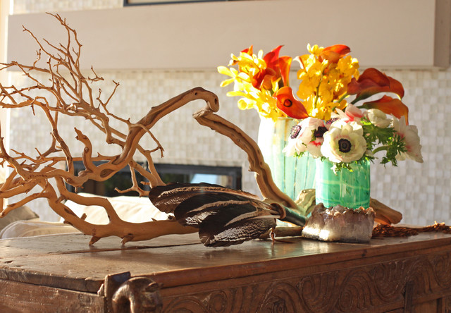 Natural Beauty - Flowers Feathers and Wood eclectic-family-room
