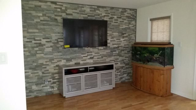 Natural Stone Accent Wall With Tv Mount Wires In Family Room Philadelphia