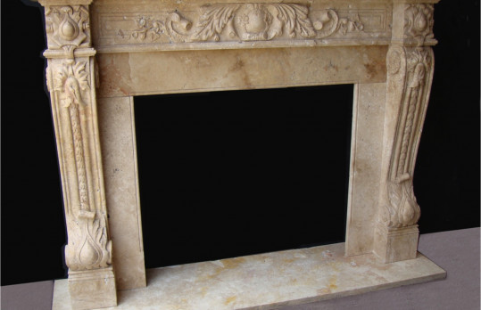 Natural Stone Fireplace mantels mediterranean-family-room