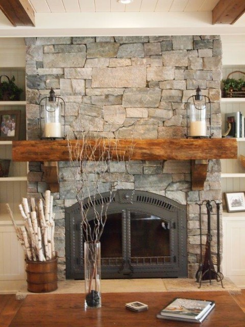 Natural Stone Fireplace - Farmhouse - Family Room - Toronto - by Muskoka Granite: Harp Lake Ventures