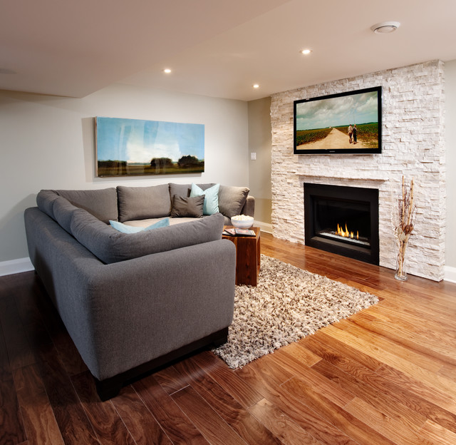 Natural Stone Fireplace With Tv Contemporary Family