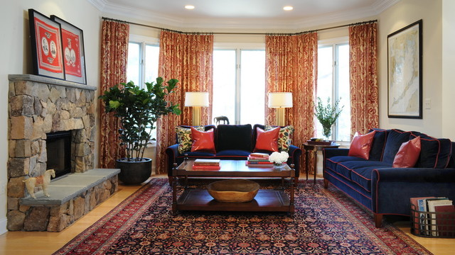 Navy blue and red family room with oriental carpet traditional family room dc metro by for Navy blue carpet living room