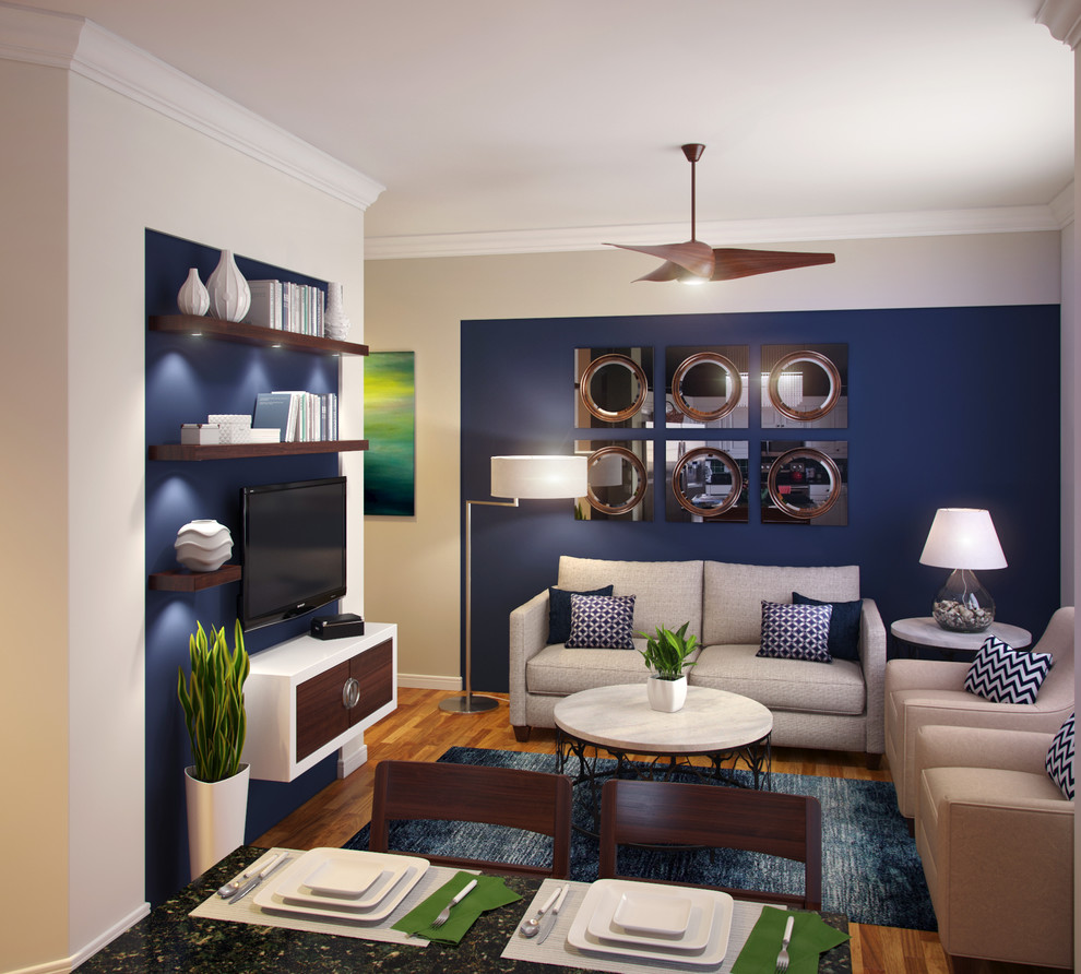Inspiration for a modern enclosed light wood floor family room remodel in Miami with no fireplace, a wall-mounted tv and multicolored walls
