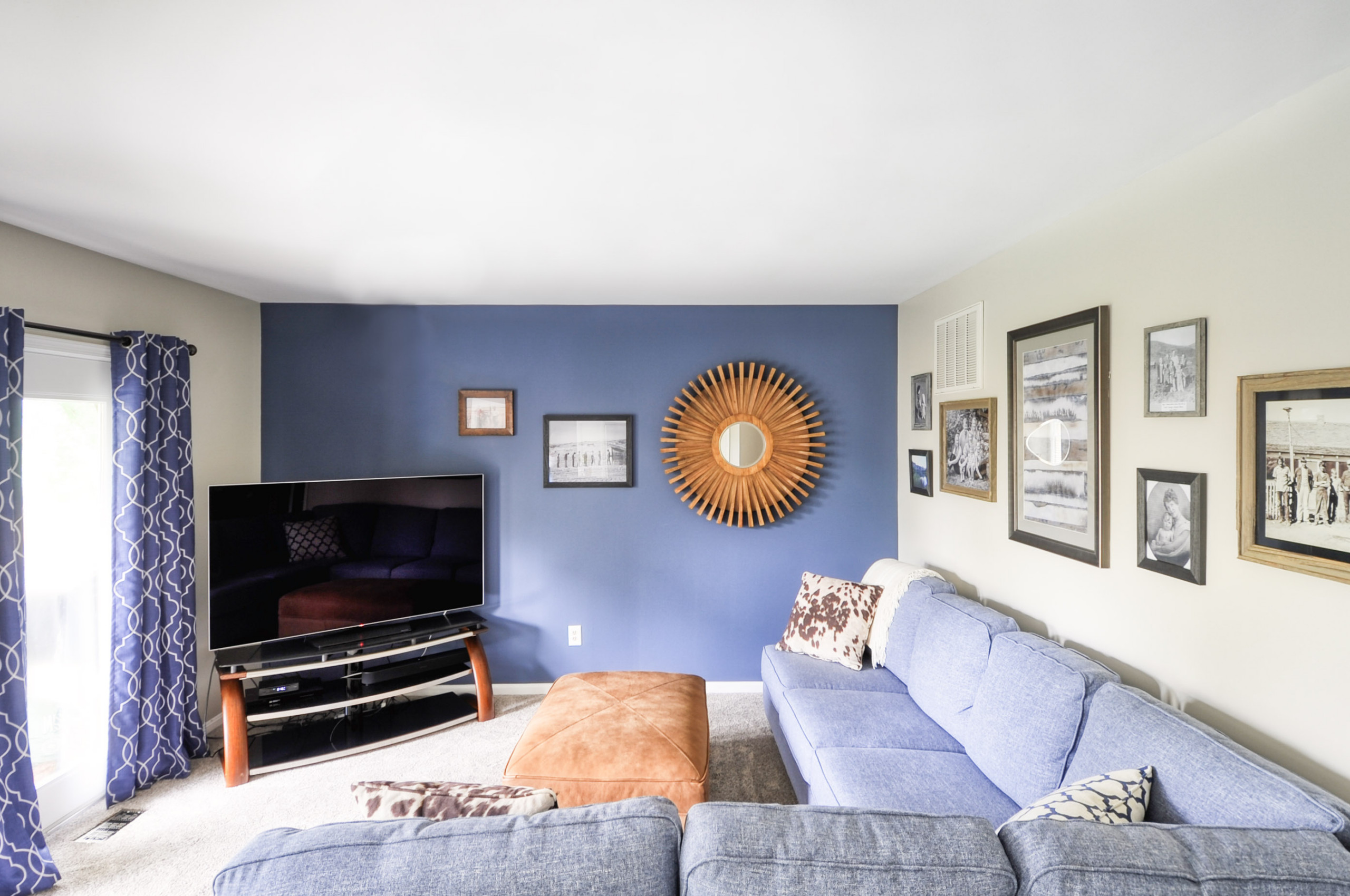 Navy Stained Pieces in White Shaker Kitchen with Family Room
