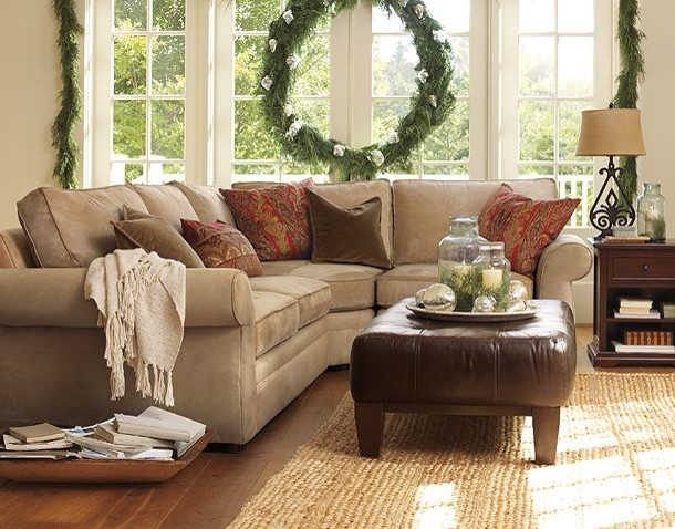Neutral couch family room pottery barn traditional for Neutral green living room