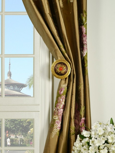 new brown floral embroidery dupioni silk curtains