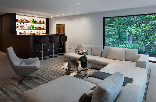 Large Minimalist Open Concept Dark Wood Floor Family Room Photo In New York  With A Bar