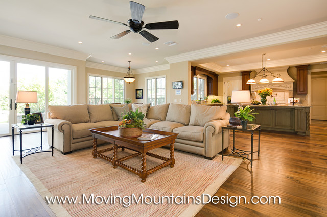 New Construction Arcadia French Country Estate Home Staging Mediterranean Family Room