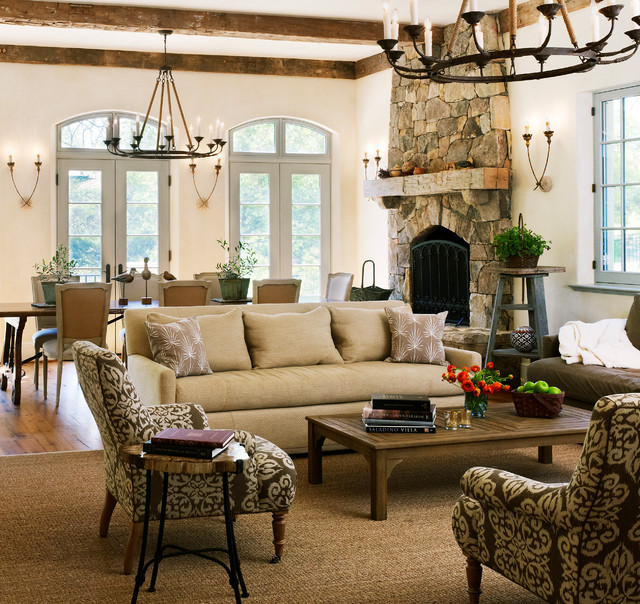 New Country French Cottage Mediterranean Family Room