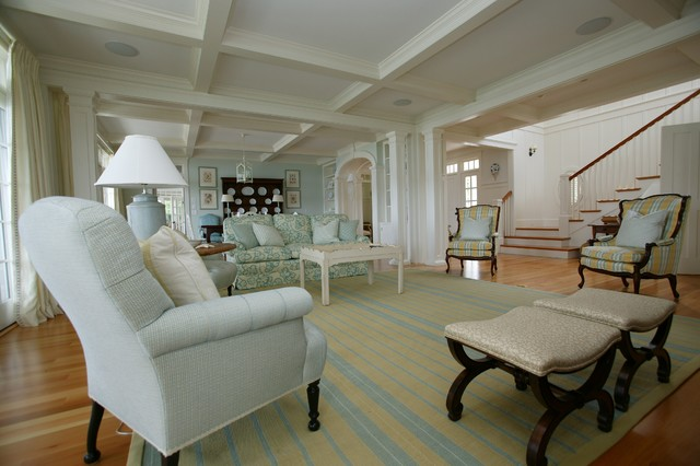 New england beach house family room boston by mally for New england style homes interiors