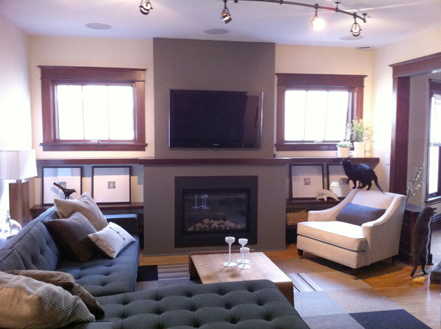 New Fireplace With Tv Eclectic Family Room Minneapolis