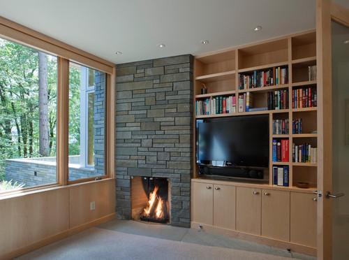 télévision perpendiculaire à une fenêtre et cheminée
