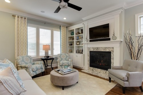 Transitional Family Room by Raleigh Interior Designers & Decorators ...