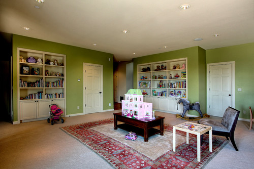Green finishes add an air of life to this playroom.