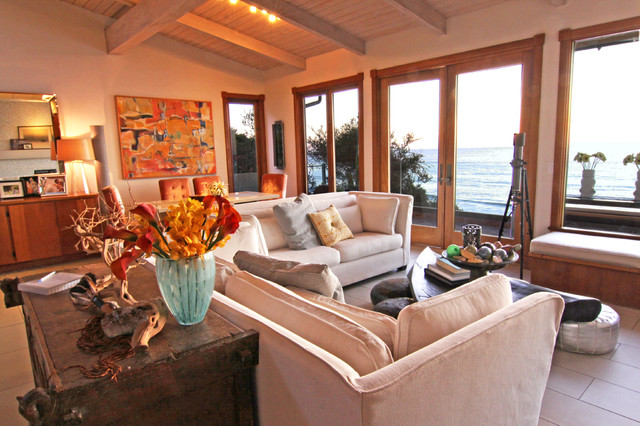 Oceanfront Family Room eclectic family room