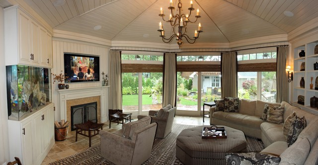 Octagonal Media Room Traditional Family Room Chicago By Kipnis Architecture Planning Houzz Au