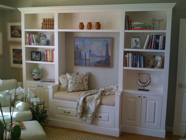 Office Bookcase and Bench Seat traditional-family-room - Office Bookcase And Bench Seat
