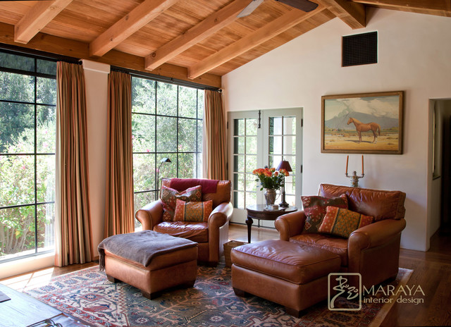 Old California Mission Style Sitting Room Mediterranean Family Room Santa Barbara By
