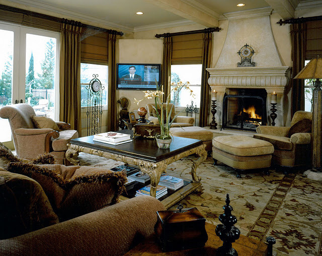 old world family room mediterranean family room