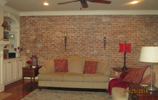 Old World Faux Brick Rustic Family Room Raleigh By