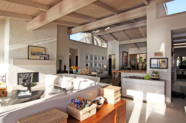 open floor plan eclectic family room
