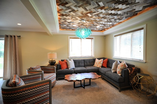 Inspiration for a transitional family room remodel in Salt Lake City