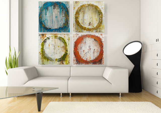 Original Abstract Art Arrangement   Set Of Four Colorful Paintings  Minimalistisch Wohnzimmer