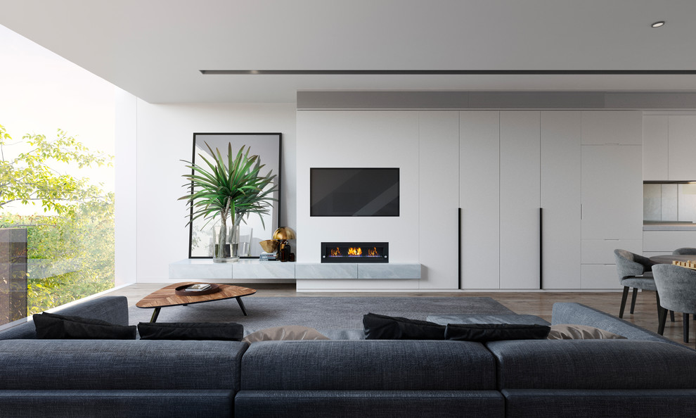 Minimalist open concept family room photo in Melbourne with white walls, a ribbon fireplace and a media wall