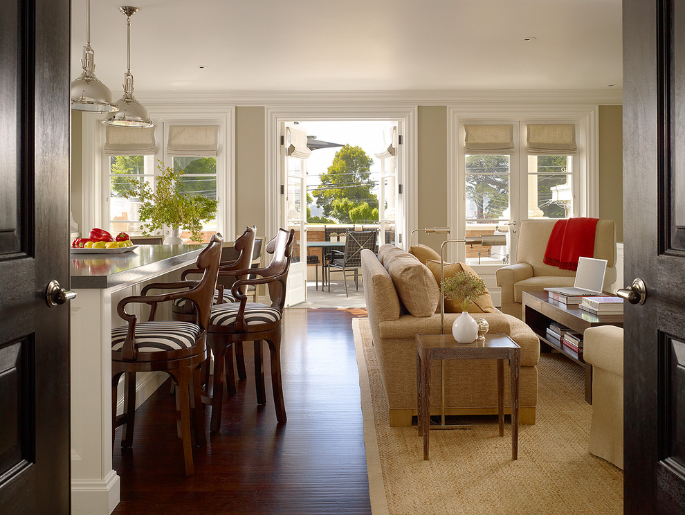 Family room - large contemporary open concept medium tone wood floor family room idea in San Francisco with beige walls