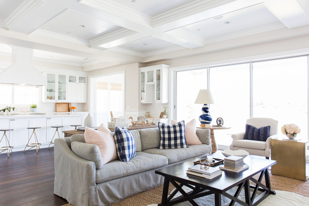 Family room - transitional dark wood floor family room idea in Los Angeles