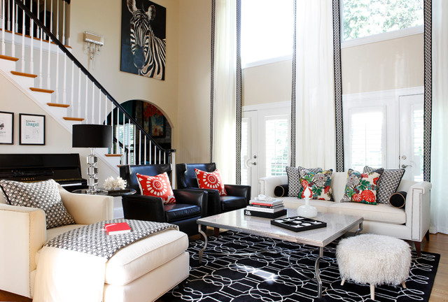 Painted brick roswell ga contemporary family room atlanta by kristin drohan collection for Kristin drohan interior design