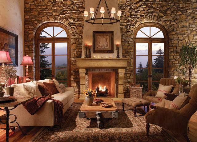 Palacio Fireplace Surround Rustic Family Room