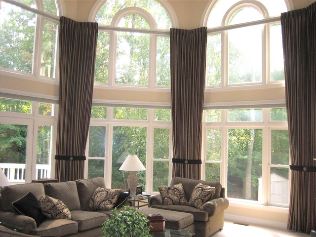 Panache designs traditional family room dc metro for Window treatment options for large windows