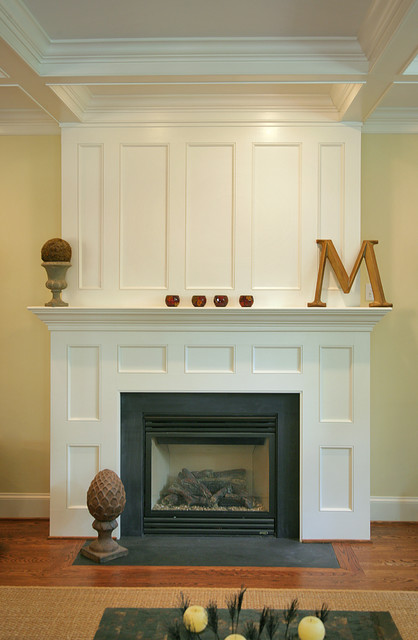 paneled fireplace traditional family room