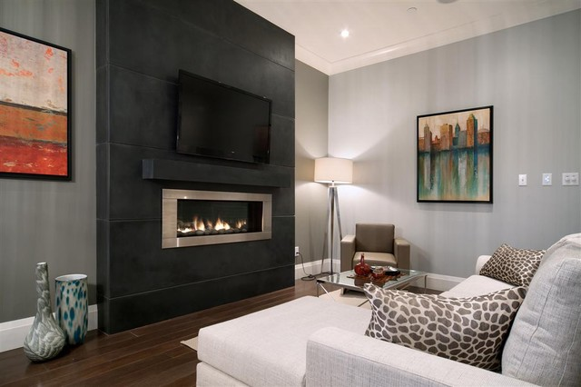 Design Ideas For A Medium Sized Traditional Enclosed Family And Room In Vancouver With Grey