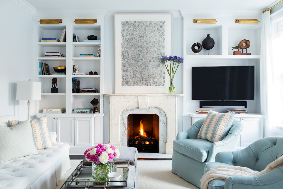 Family room - large transitional open concept carpeted family room idea in New York with a standard fireplace, a stone fireplace, a media wall and blue walls