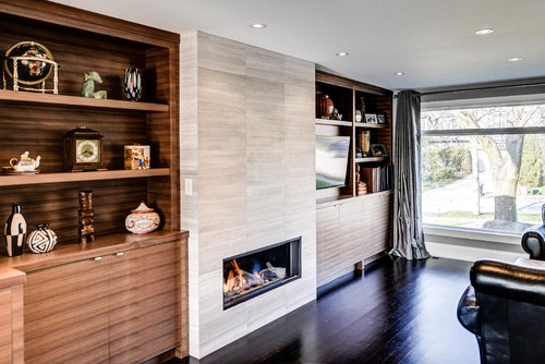 contemporary family room Add Flair to Your Fireplace