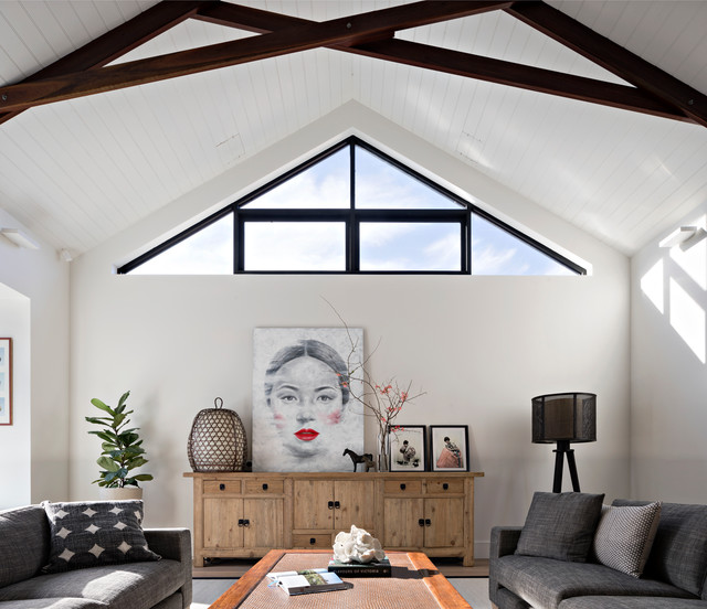 Example of a trendy family room design in Melbourne