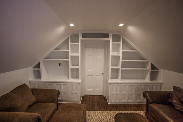 attic slanted shelves ideas - Peachtree Rd attic Traditional Family Room atlanta