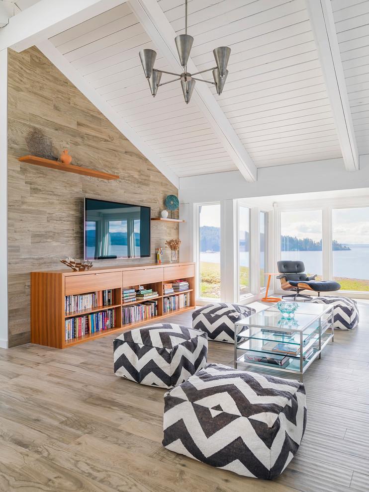 Family room - coastal family room idea in Vancouver