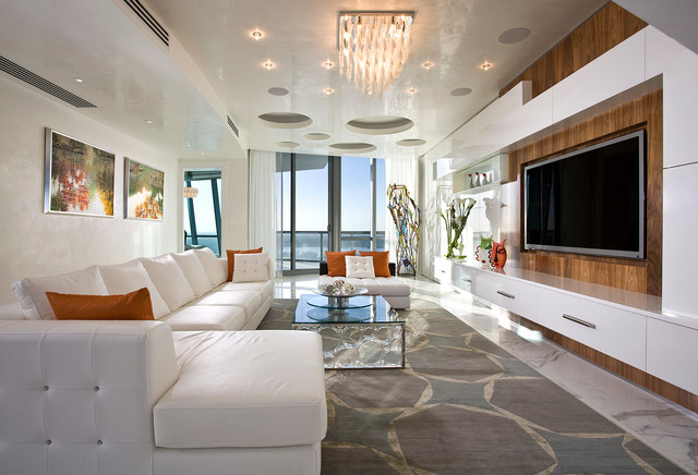 Pfuner Design Oceanfront Penthouse Contemporary Family Room Miami By