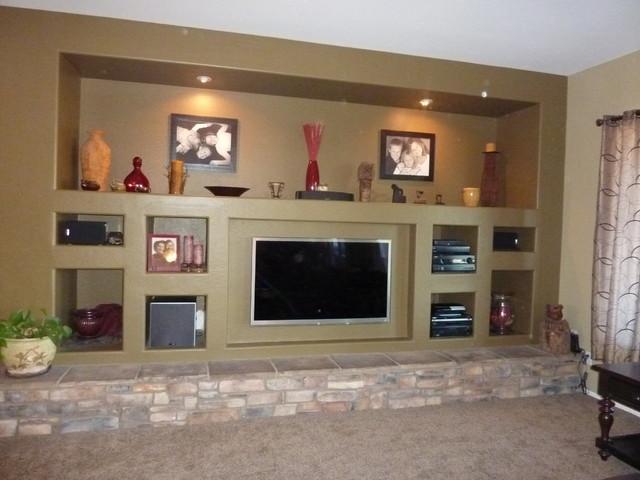 Phoenix custom media walls traditional family room for Media wall design phoenix