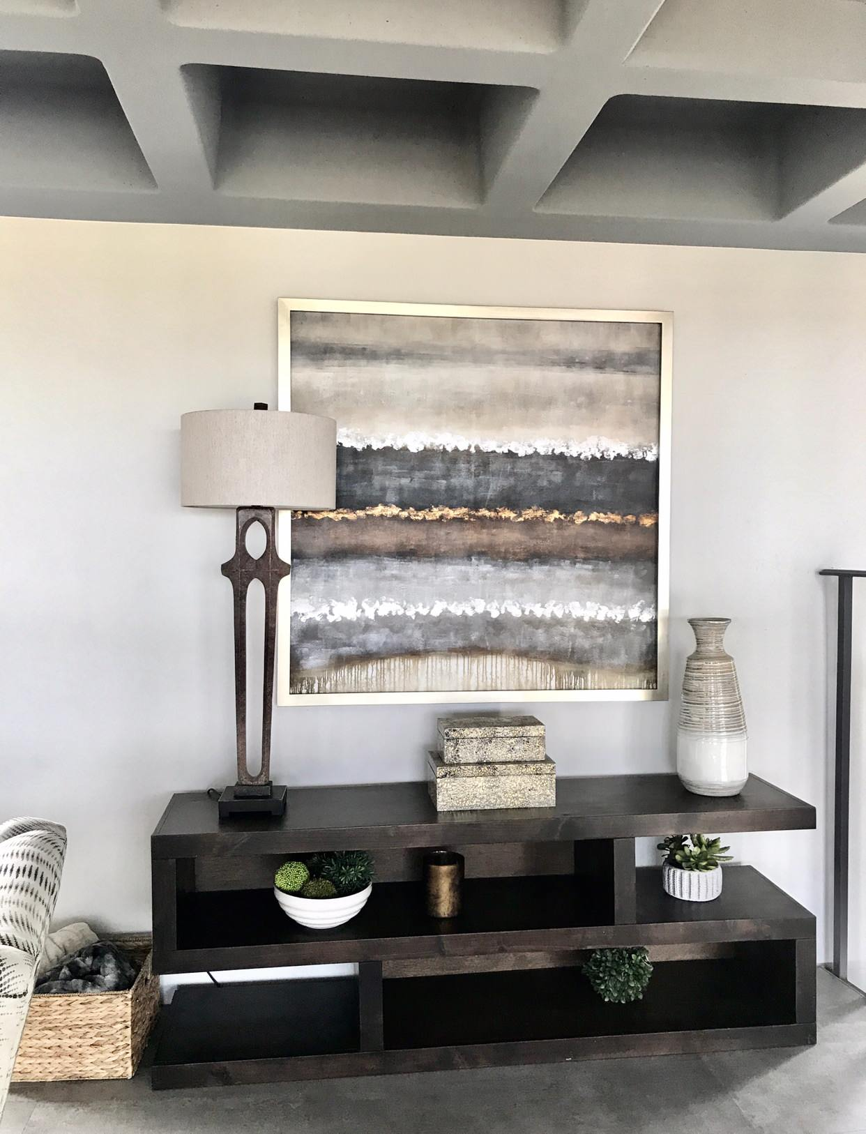 Large minimalist family room photo in Phoenix