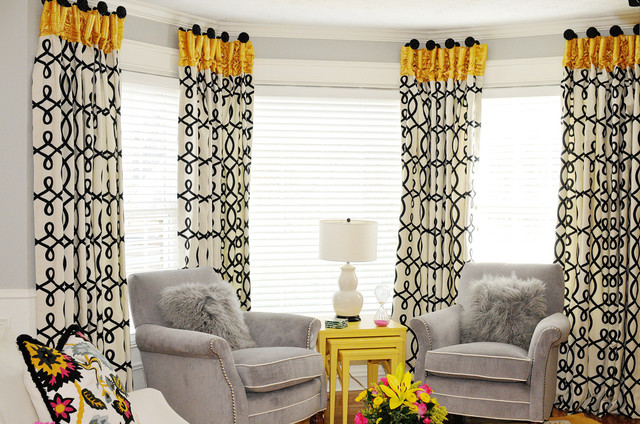 Pink Yellow And Grey Family Room