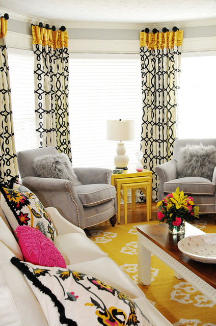 Pink yellow and grey family room eclectic family room atlanta by kandrac kole for Grey black and yellow living room