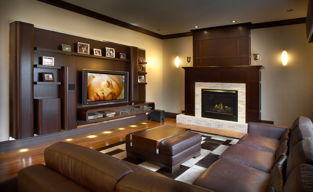 Plasma wall unit with motorised bracket contemporary family room montreal by maria - How to decorate a wall unit ...