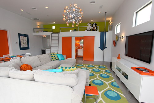 Nice The space below is colorful and bold I am loving the child us loft area with blue arrow showing that you slide down the pole My boys would go crazy over