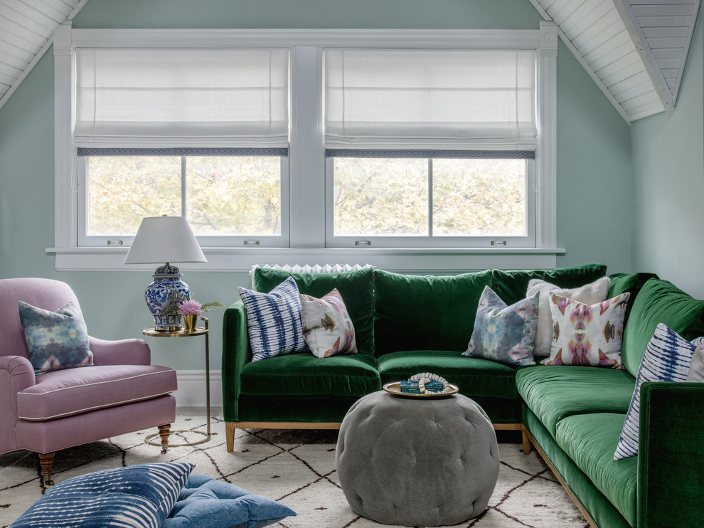 Inspiration for a mid-sized transitional open concept gray floor family room remodel in Chicago with green walls, no fireplace and no tv